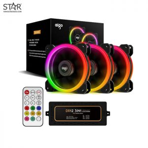Fan Case Aigo DR12 3IN1 12cm RGB Kit 3 Fan (Hub + Remote)