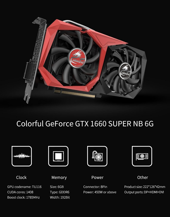 VGA Colorful GTX 1660 Super 6G NB (GTX1660 SUPER NB 6G-V)