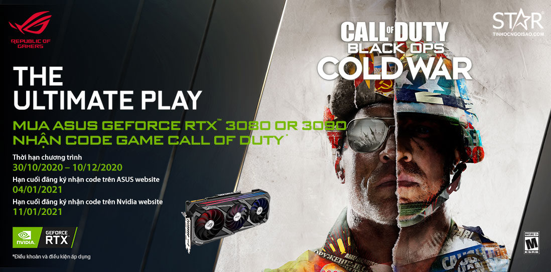 Mua Card đồ họa ASUS RTX3090/ 3080 series nhận ngay code game Call Of Duty: Black Ops Cold War