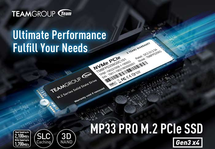Ổ cứng SSD 512G Teamgroup MP33 PRO NVMe PCIe Gen3x4 M.2 2280 (TM8FPD512G0C101)
